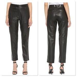 IRO Black Wide Leg Great Leather Chino Pants 34